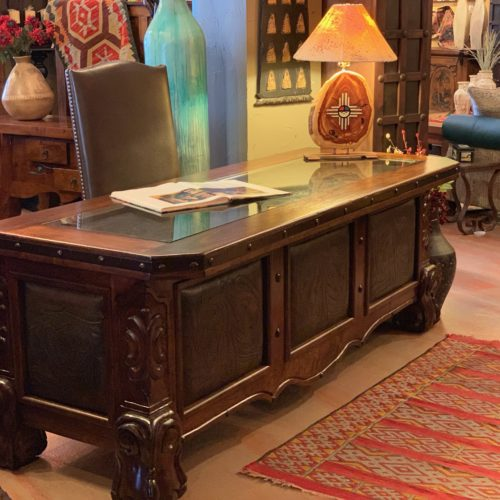 Carved Walnut Desk with Tooled Leather