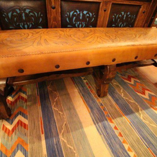 Tonala Tooled Leather Bench