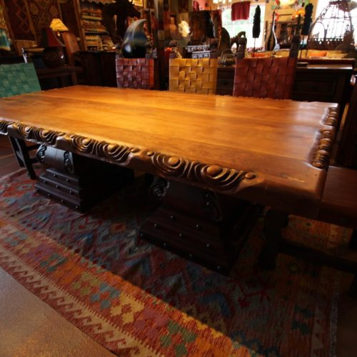 Cherry & Mesquite Hand-Carved Table
