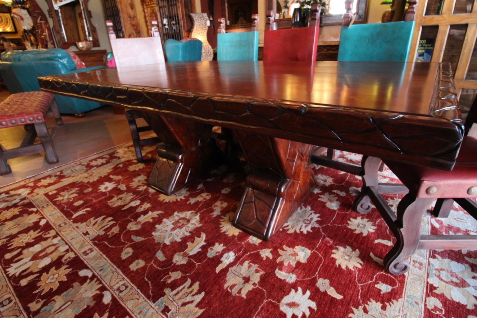 Coral Inlay Mesquite Table