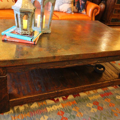 Patina Copper Coffee Table with Shelf