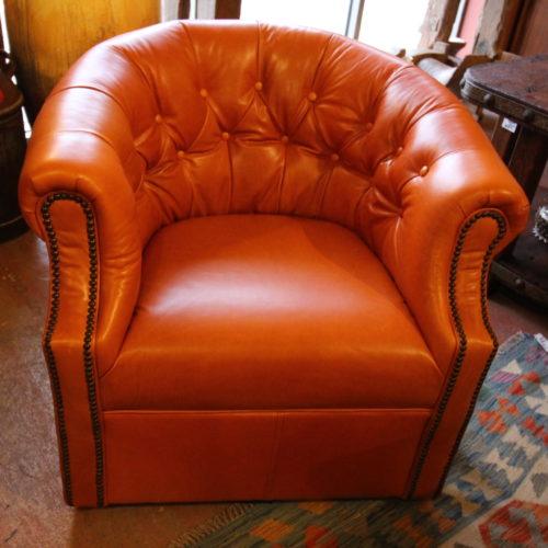 Orange Sun Kiss Tufted Leather Chair