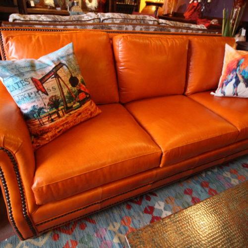 Orange Sun Kiss Italian Leather Sofa