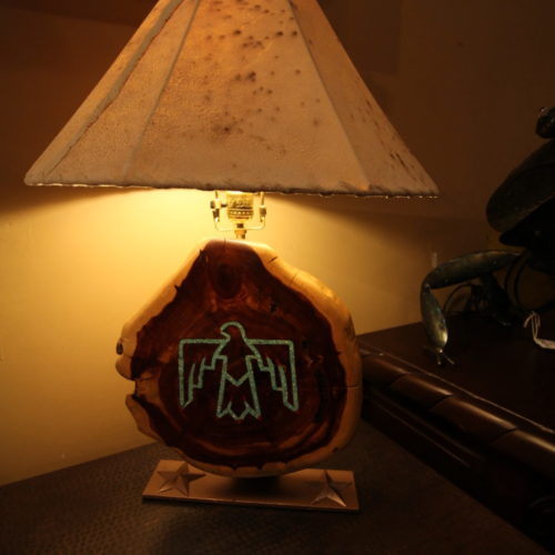 Hopi Mesquite Lamp with Turquoise Inlay