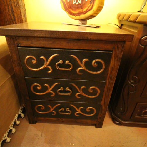 Ornate Black Copper Nightstand