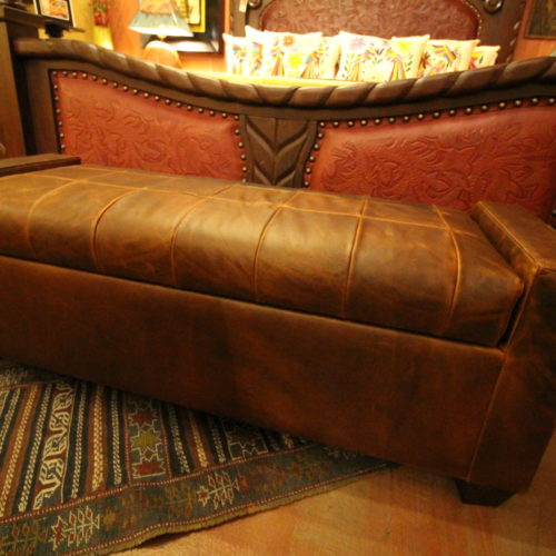 Tenby Coppertone Buffalo Leather Storage Bed Bench