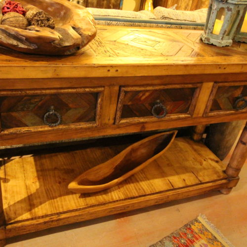Reclaimed Wood Inlay Sofa Table