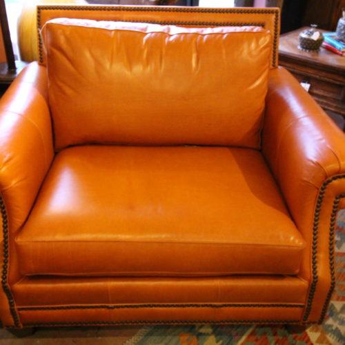 Orange Sun Kiss Italian Leather Armchair