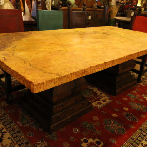 Chiseled Edge Travertine Table with Double Mesquite Pedestal