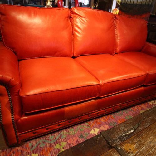 Red Italia Leather Sofa