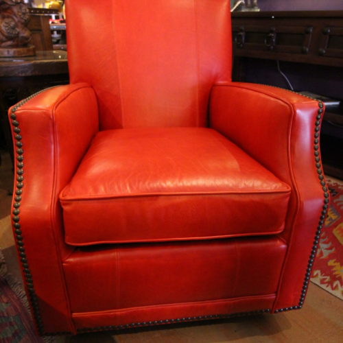 Red Italia Swivel Glider Accent Chair