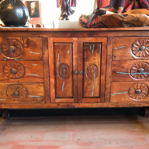 Carved Floral Mesquite Buffet with Turquoise Inlay