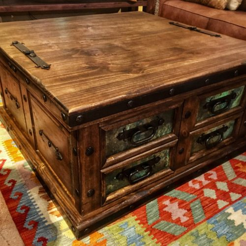 Lift-Top Trunk Coffee Table with Acid Washed Copper Inlay