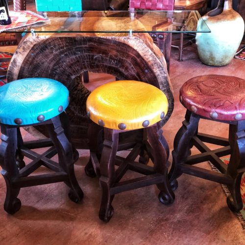 Round Tooled Leather Stools