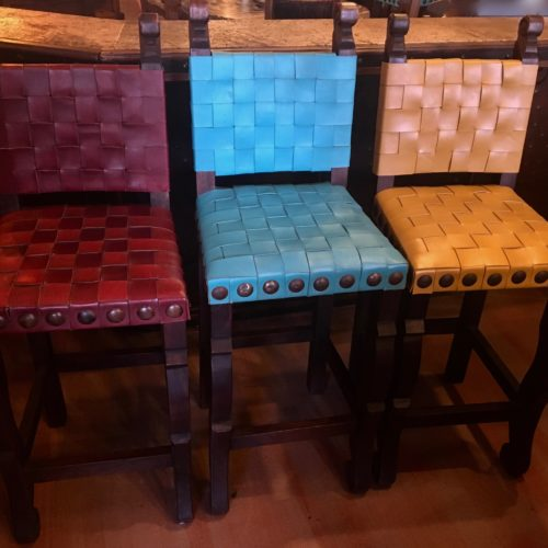Argentina Woven Leather Barstools in Amarillo, Turquoise & Red Guinda