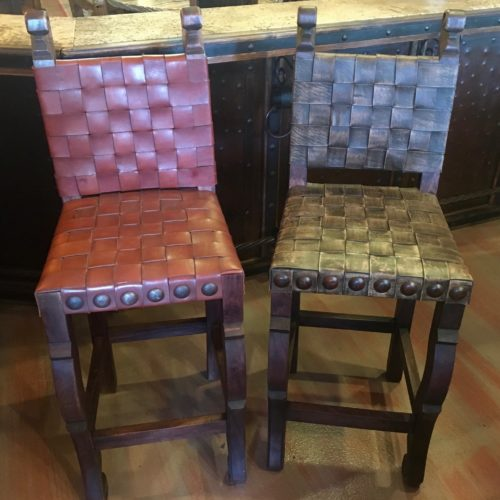 Argentina Woven Leather Barstools in Vintage Coffee & Red Inglès