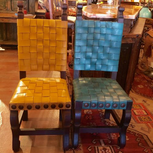 Argentina Woven Leather Chairs in Turquoise & Amarillo