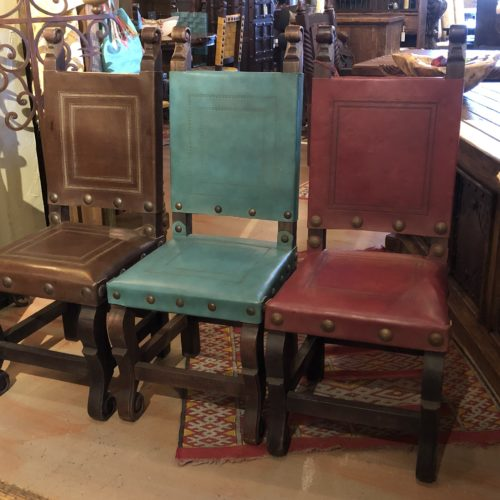 Argentina Tooled Leather Chairs in Coffee, Turquoise & Red Guinda