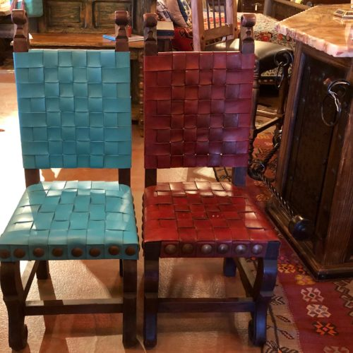 Argentina Woven Leather in Turquoise & Red Guinda