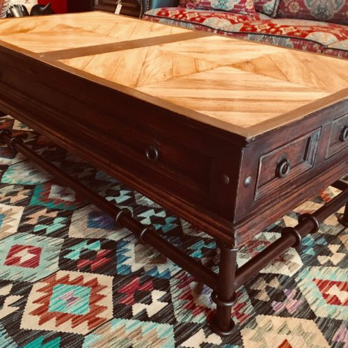 Mesquite Inlay Coffee Table on Iron Base