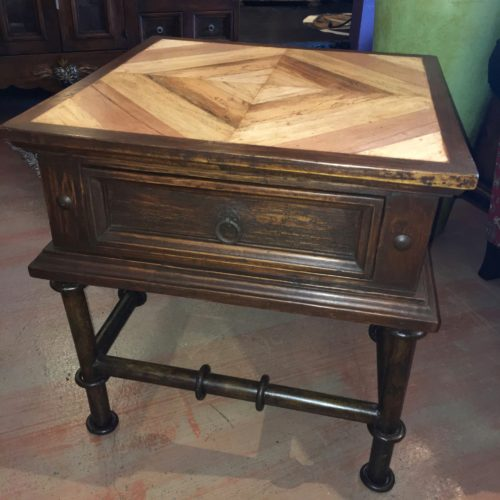 Mesquite Inlay End Table with Iron Base