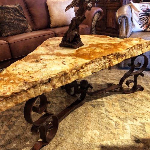 Natural Free Form Onyx Slab Coffee Table Mesquite Base