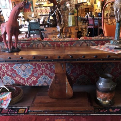 Mesquite Turquoise Inlay Sofa Table on Pedesta