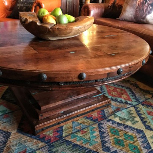 Round Mesquite Coffee Table with Turquoise Inlay