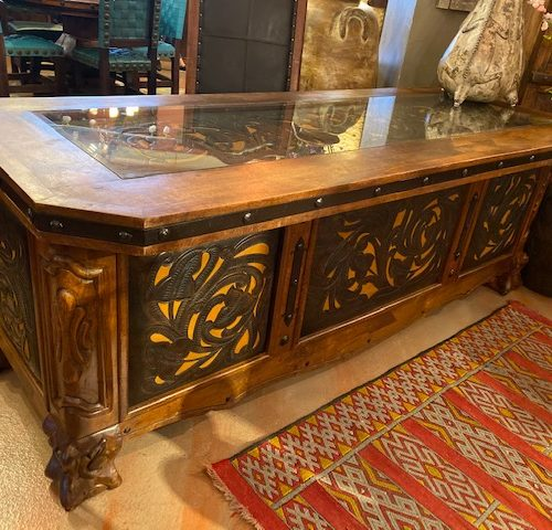 Tooled Leather Executive Desk