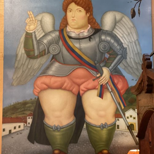 """Botero Style Original Painting of """"Archangel Michael in Armure"""""""