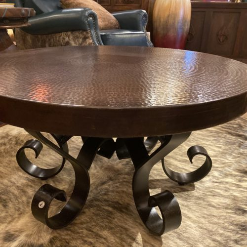 Round Hand-Hammered Copper Coffee Table on Iron Base