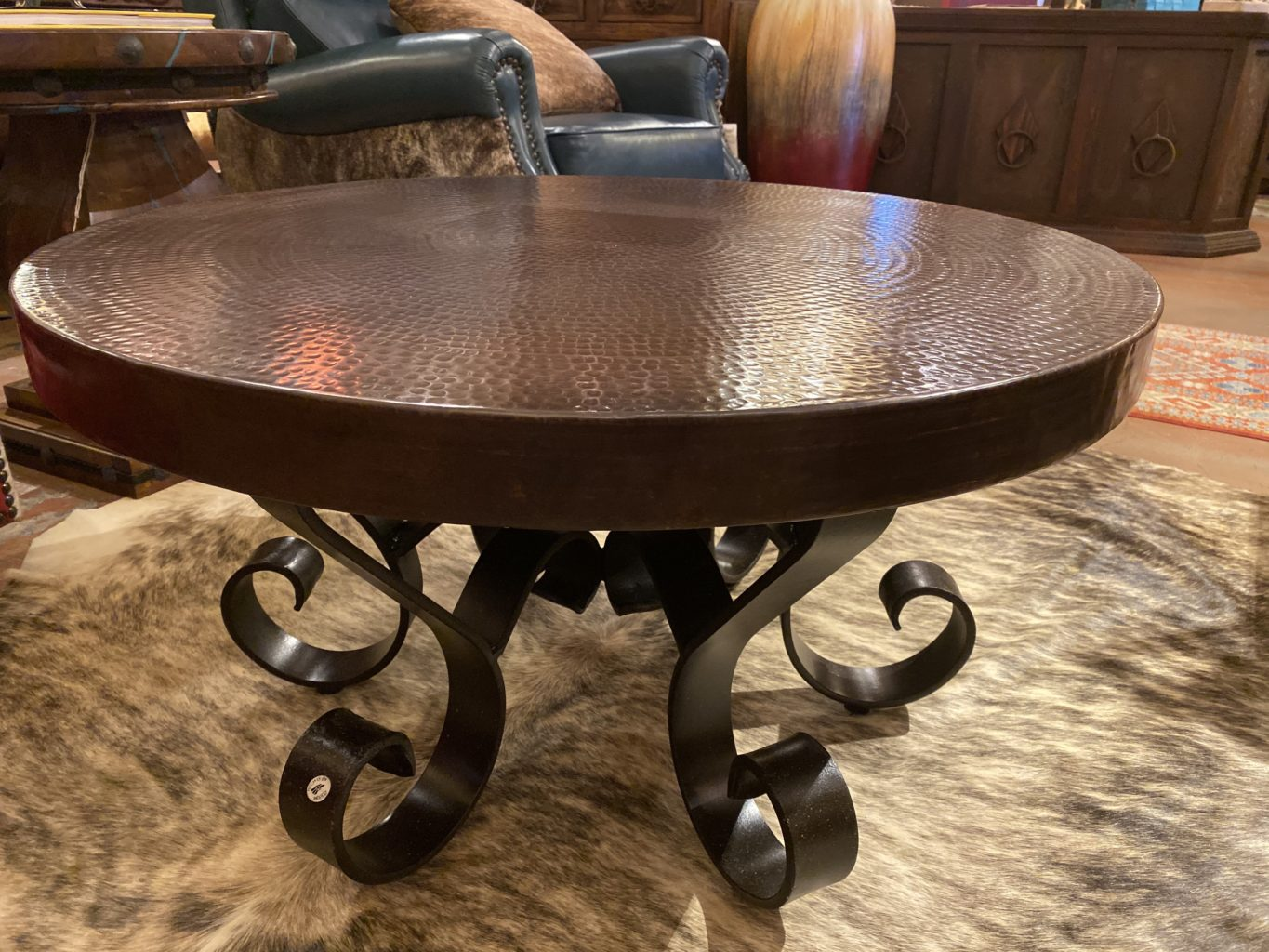 Round Hand Hammered Copper Coffee Table