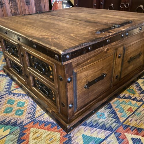Lift-Top Trunk Coffee Table with Tooled Leather Inlay