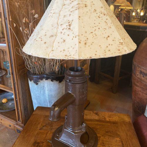 Water Pump Table Lamp with Sheep Skin Shade