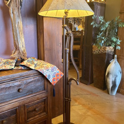 Water Pump Floor Lamp with Sheep Skin Shade