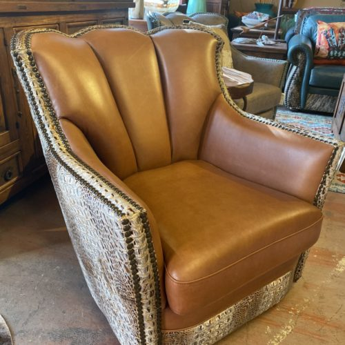 Cheyenne Swivel & Glider Puma Chair in Aged Gator
