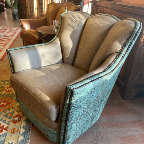 Cowboy Swivel Glider Puma Chair in Turquoise with Embossed