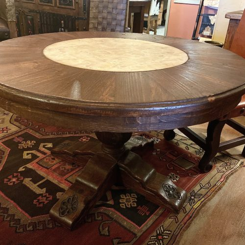 Round Wormwood Table with Onyx Inlay