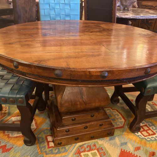 Round Mesquite Table with Turquoise Inlay on Mesquite Pedestal