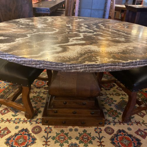 Round Onyx Table on Mesquite Pedestal