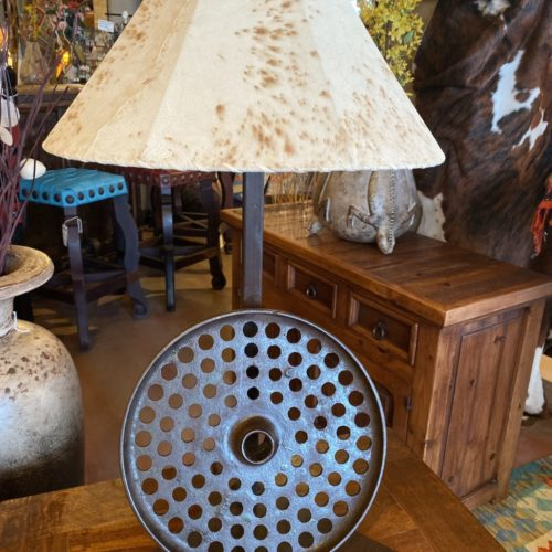 Round Rim Table Lamp with Sheep Skin Shade
