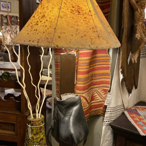 Old Stirrup Table Lamp with Sheep Skin Shade