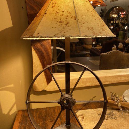 Wheel Rim Table Lamp with Sheep Skin Shade