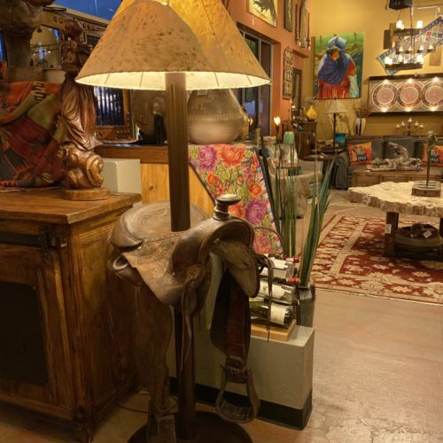 Old Saddle Floor Lamp with Sheep Skin Shade