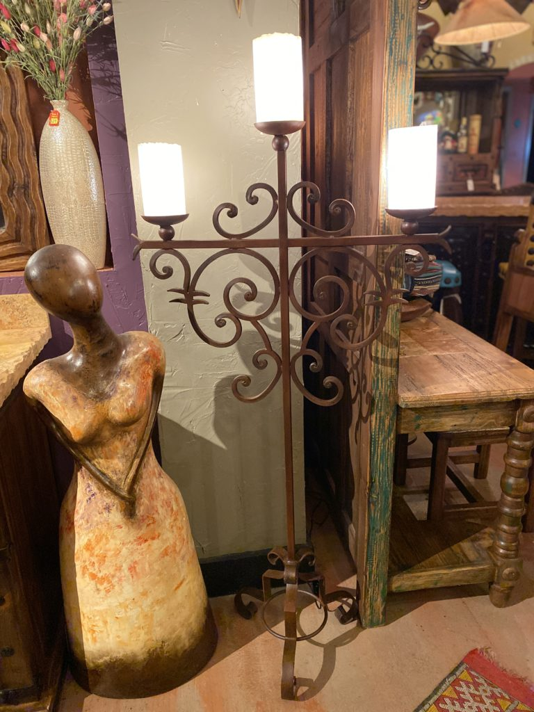 24 Forged Iron With Onyx Shades Floor Lamp The Rustic Gallery