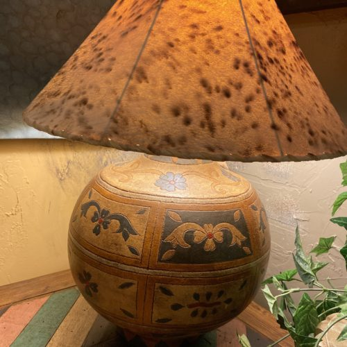Hand-Painted Ceramic Ball Table Lamp with Sheep Skin Shade