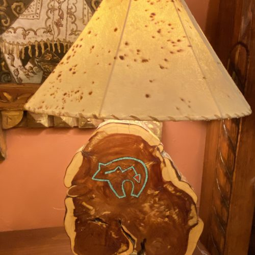 Bear Mesquite Table Lamp with Sheep Skin Shade