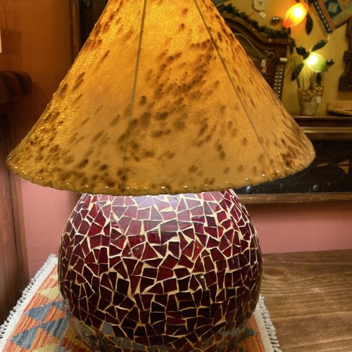 Round Mosaïc Table Lamp in Red