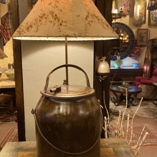 American Milk Can Table Lamp with Sheep Shade