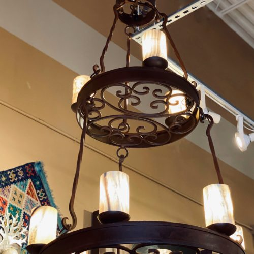 Iron Art Chandelier with Onyx Shades